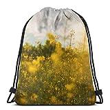 NPNP Mochilas con cordón Nature Field Mochila Amarilla Pull String Bags Almacenamiento Deportivo a Granel para Mujeres Plegable Camping Picnics Mochila