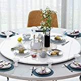 STEPPE Mesa Giratoria,Mármol Blanco/Negro Base Giratoria para Pastel para Mesa de Comedor de Cocina Charola Giratoria