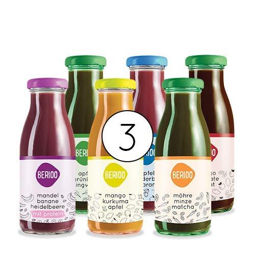 3 Tage Bio Saftkur - Bio & Vegan - Glas statt Plastik - 18 Flaschen, 6 pro Tag - hochwertige Obst- und Gemüsesäfte ohne Zusatzstoffe oder Zuckerzusatz
