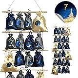 Adventskalender zum Befüllen Strickleiter aus Holz mit 24 Säckchen DIY in 3 Farben