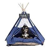 Tipi para Mascotas | Perrera para Perros& Gatos | Tienda para Mascotas con CojIn - Cortinas&Casas De Pizarra De Lujo (Avión Azul)