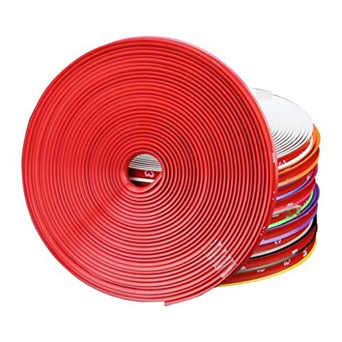 Heligen Protectores de Bordes, para Llantas de Ruedas de Coche, líneas de Goma Llantas Borde Ring Protectores De Llanta Neumáticos Llanta Protección Caucho Moldura (Rojo)