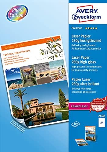 AVERY Zweckform 2498 Premium Colour Laser Papier (100 Blatt, 250 g/m², DIN A4 Papier, beidseitig beschichtet, hochglänzend, weiß, FSC, für Fotodrucke mit Farblaserdrucker) 1 Pack