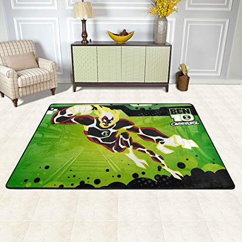 New DIY Anti Slip Area Rug 72x48 Inch, Anime Ben 10 Game Heatblast Poster Mat Carpet Quick Dry, Extra Large Runner Rug for Car Front Porch Kids Room