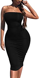 Women's Sexy Bodycon Strapless Midi Club Tube Dress Basic Casual Dresses