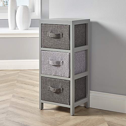 Home Source Metro Aufbewahrungseinheit aus grauem Holz mit Stoffkorb für Schlafzimmer, Flur, 3 Drawer