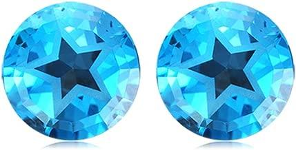 Mysticdrop 7.00 Cts of 9 mm Texas Star AA Matching Loose Swiss Blue Topaz (2 pcs) Gemstones