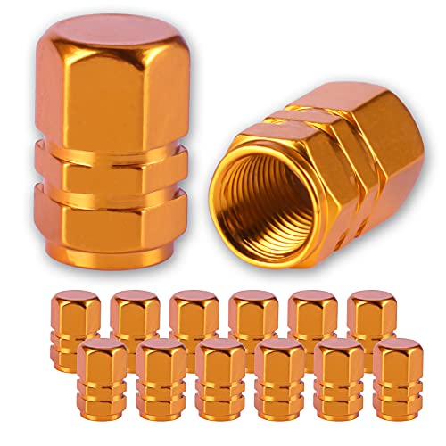 JUSTTOP Car Wheel Tire Valve, 12pcs Air Caps Cover, Universal for Cars, SUVs, Bike, Trucks and Motorcycles-Gold
