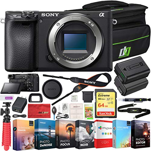 Sony ILCE-6400 a6400 Mirrorless APS-C Interchangeable-Lens Camera Bundle with 64GB Memory Card, Photo and Video Professional Editing Suite, Camera Bag and Replacement Camera Battery