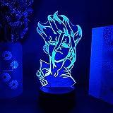 Lámpara de decoración de ilusión de luz nocturna Led 3D, personaje de Manga, mesa de dormitorio de Anime, 7 colores, vacaciones para decoración del hogar