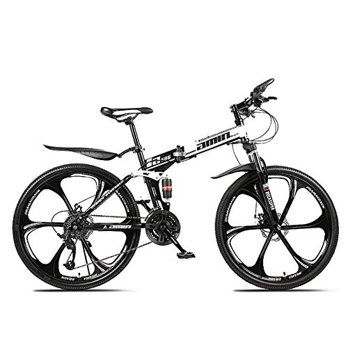 SCYDAO Foldable Mountain Bike 26 Inch, 21/24/27/30 Speed Four Choices Full Suspension Mountain Bike, Bikes for Adults, Mountain Bike, Adult Mountain Bike,White,30 Speed