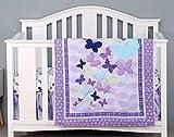 Sweet Baba Luxury 4 Piece Butterfly Crib Bedding Set,Purple Crib Set for Baby Girls,Microfiber Printed Nursery Bedding Set with Comforter/Skirt/2 Crib Sheets,100% Natural Cotton Crib Set…