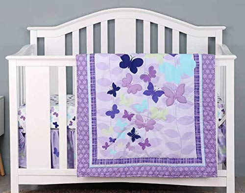 Sweet Baba Luxury 4 Piece Butterfly Crib Bedding Set,Purple Crib Set for Baby Girls,Microfiber Printed Nursery Bedding Set with Comforter/Skirt/2 Crib Sheets,100% Natural Cotton Crib Set…