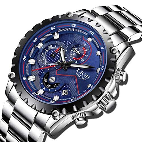 LIGE Uhren Herren Sport Wasserdicht Analog Quarz Chronograph Fashion Edelstahl Blau Armbanduhr 9821