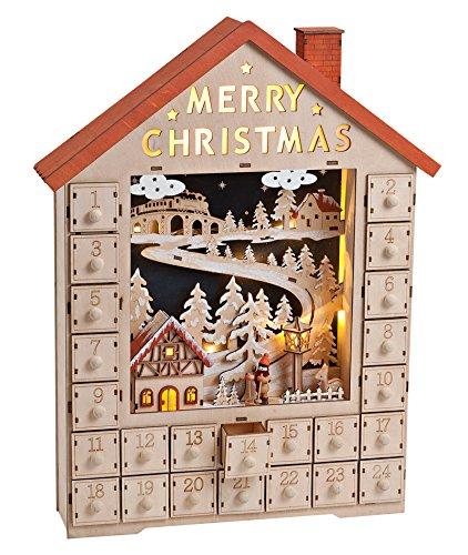 Unbekannt Adventskalender Holz mit Beleuchtung (15329w) mit Weihnachtsdorf und Winterszene