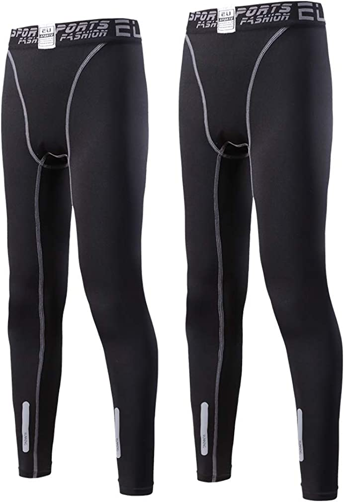 Tesuwel 2 Pack Boys Girls Compression Leggings Pants Athletic Base Layer Running Tights Pants