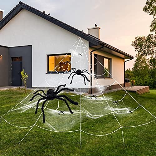 Halloween Decoración de Araña Enorme, Gran Tela de Araña Triangular 7Mx5M, Telarañas elásticas, 8 Arañas de Plástico, Kit Decoracion Halloween Terror para Puerta Exterior Casa Jardín