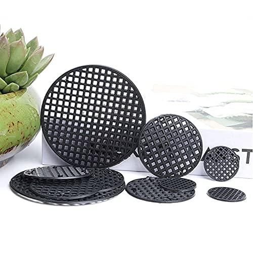 Almohadilla de malla de plástico con agujero para maceta, malla redonda para pote de bonsái, para drenaje de jardín, malla rígida con orificios de malla