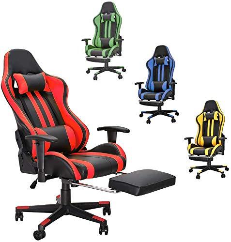 Soontrans Sedia Gaming Ergonomico Sedia da Gaming con Poggiapiedi Sedia Scrivania Poltrona Gaming, Regolabile Poggiabraccia, Cuscino Lombare e Supporto Testa (Rosso)