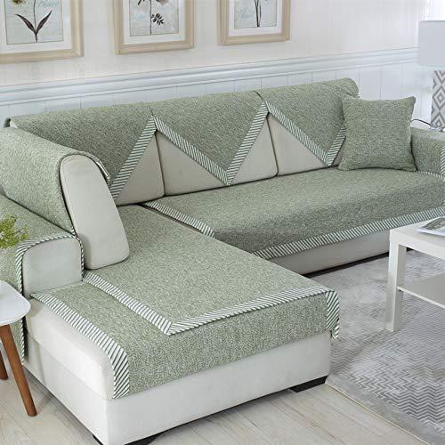 AIKES rutschfest Sofaschoner L-Form Sofa-Protektor,Waschbarer Sofa überzug Für Wohnzimmer Hunde Haustier,Schnitt Couch-abdeckungen-Grün 70x240cm(28x94inch)