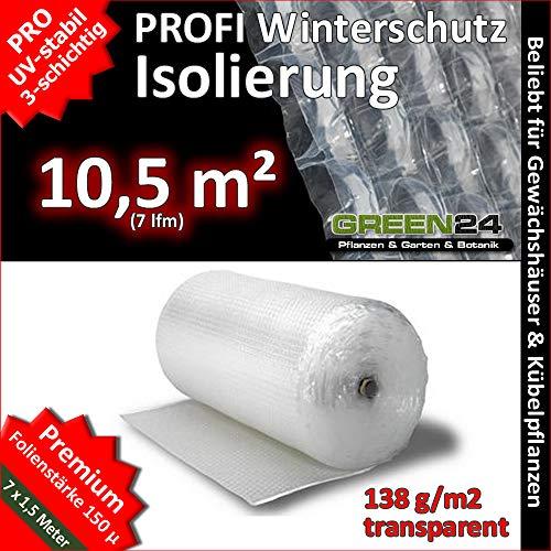 GREEN24 Noppenfolie Luftpolsterfolie 7 x 1,5 Meter (10,5 m2) PRO3 Frostschutz, Windschutz und Winterschutz, Isolierung und Wärmeschutz für Haus und Garten