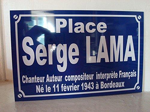 Noir & Mat Sérigraphie Serge Lama Plaque de Rue Objet Collection Cadeau pour Fan déco Originale