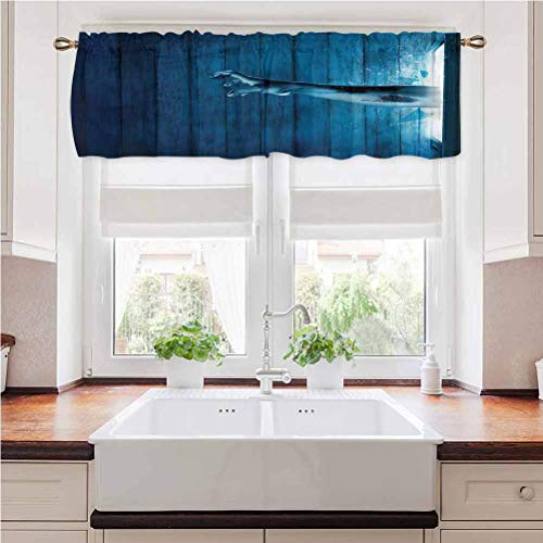 painting-home Window Curtains Horror House, Zombie Hand Television Rod Pocket Blackout Valance Curtains Perfect for The Bathroom and Budget Friendly 54 x 12 Inch