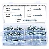Hseamall Set di 70 tasselli di ancoraggio resistenti per cartongesso, tasselli in metallo per fissaggio su pareti a intercapedine, misure M4 x 38 mm, M5 x 37 mm, M5 x 52 mm, M6 x 52 mm, M6 x 65 mm