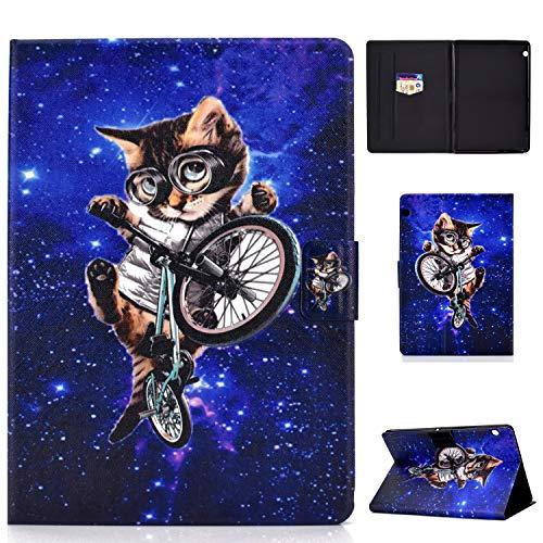 Succtop Hülle für Huawei Mediapad T5 10 PU Leder Schutzhülle Flip Cover Hülle Brieftasche Stand Magnetschnalle Tasche Hülle mit Kartenschlitz für Huawei Mediapad T5 10.1 Zoll 2018 Space Cat