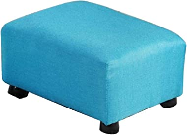 YYQIANG Small Linen Fabric Ottoman/Footrest Stool,Home Living Room Bedroom Square Stool with Padded Chair Seat Wood Legs Dura