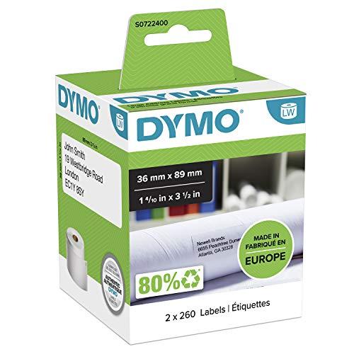 Große DYMO LW-Adressetiketten | 36mm x 89mm | schwarzer Druck auf weißem Untergrund | 2Rollen mit je 260leicht ablösbaren Etiketten (520Etikettenband) | selbstklebend | für LabelWriter-Beschriftungsgeräte | authentisches Produkt