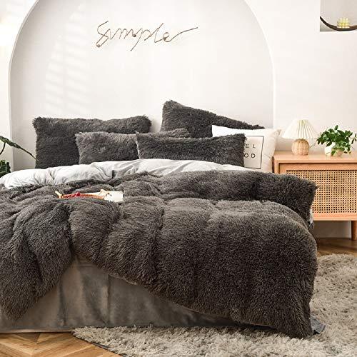CoutureBridal Warm Winter Bettwäsche 220x240cm Grau Plüsch Langhaar Flauschig Flanell Biber Bettbezug mit Reißverschluss und 2 Kissenbezug 80x80cm Doppelbett Deckenbezug