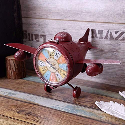 DKEE Reloj de Pared Rojo Creativo Reloj Retro Vintage Reloj Modelo De Avión Bar Decoración Adornos Nostálgico Elegante Personalidad Mesa Reloj