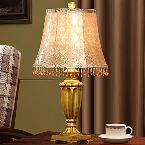ROEWP Lámpara de mesa creativa lámpara de mesa dormitorio lámpara de mesa decoración con doble tela pantalla adecuada para sala de estar, dormitorio, estudio villa