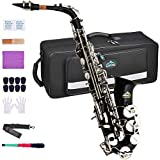 EASTROCK Alto Saxophone E Flat Black/Silver Key Brass Sax for Students Beginner With Reeds,Neck Strap,Mouthpiece&Cushion Pads,Cleaning Cloth&Rod,White Gloves