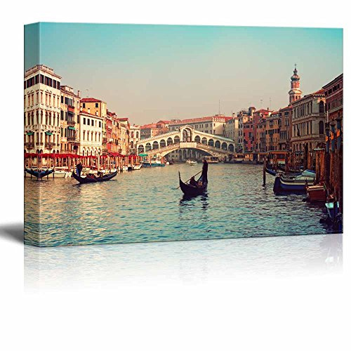 "wall26 - Canvas Prints Wall Art - Rialto Bridge and Gondolas in Venice. | Modern Wall Decor/Home Decoration Stretched Gallery Canvas Wrap Giclee Print. Ready to Hang - 24"" x 36"""