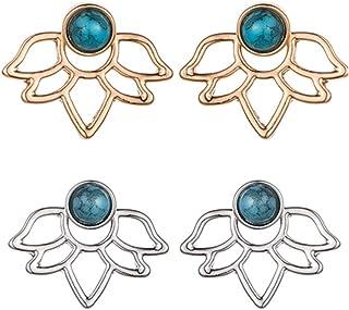 2-8 Pairs Stud Lotus Flower Earrings Ear Jacket for Women and Girls Set for Sensitive Ears Simple Chic Earrings