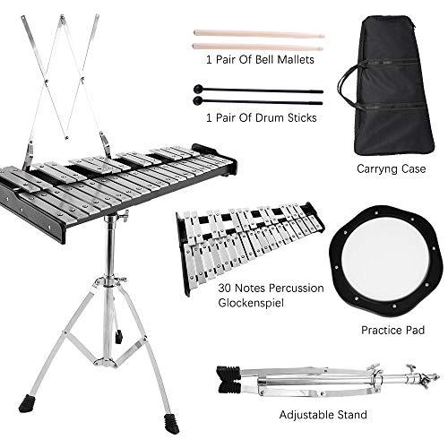 S SMAUTOP Kit de cloche de percussion, Kit de cloche de glockenspiel éducatif de 30 notes, Instrument de musique avec percussion à la main avec cadre réglable à hauteur réglable