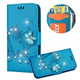 Blau Brieftasche für iPhone 6s Plus,Strass Handyhülle für iPhone 6 Plus,Moiky Luxus Liebe Herze Muster 3D Schmetterling Dekor Magnetisch Kunstleder Stoßdämpfende Handytasche mit TPU