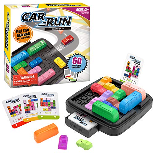 Wesimplelife Juguetes Educativos Car Run Juegos de Mesa Juegos Ingenio Juegos de Lógica con 60 Tarjetas de Desafío y Bolsa de Almacenamiento Stem Juguetes para Niños Adultos