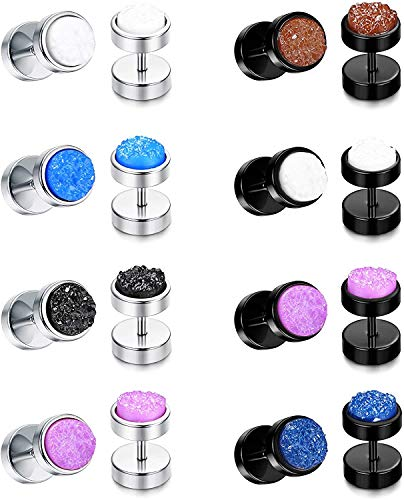 Milacolato 8 Pairs Stainless Steel Circle Flat Illusion Tunnel Dumbbell Earrings for Men Women Dot Studs Earring Cheater Earrings Plugs Gauge Punk Style