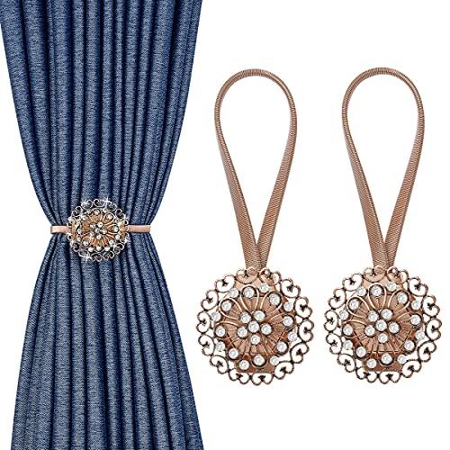 MoKo 2PZS Abrazaderas Cortinas Magnéticas, Hebillas Decorativas con Cuerda, Elegante Accesorio de Cortina para Recámara, Sala de Estar, Oficina - Bronce