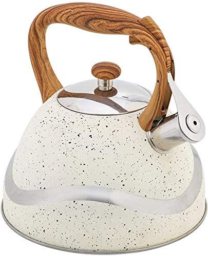 Kettle Teekocher mit Holzgriff, Teekanne aus Edelstahl, Premium-Induktionskocher für Pfeifen, 3 Liter