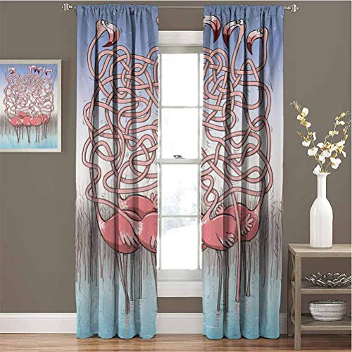 Fun for Bedroom Blackout Curtains Five Cute Flamingos Maze Game Joyful Animal Cartoon Reed Bed Water Blackout Curtains for The Living Room W72 x L108 Inch Coral Violet Blue Pale Blue