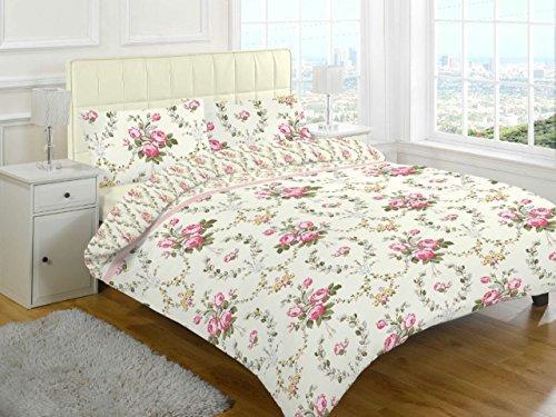 GoldStar Brushed Cotton Thermal Flannelette Reversible Duvet Cover Set (King, Olivia Pink Floral)