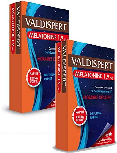 Valdispert Horaires décalésComplexe favorisant l'endormissement Mélatonine orodispersible 1,9mg Lot de 2 Boites