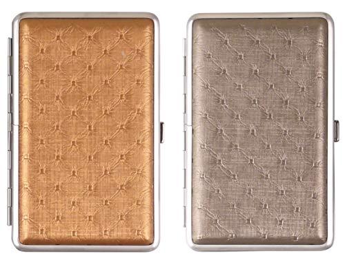 LK Trend & Style 2 x Zigarettenetui 100er Kingsize Damen Frauen im Stepp Design Gold + Silberfarben für 100 mm Lange Zigaretten mit Gummiband.