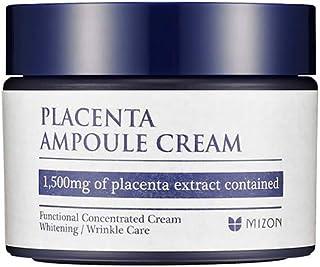 Mizon Placenta Ampoule for wrinkle and tone correction treatment, Free of Parabens (Placenta Ampoule Cream 1.69 fl oz) Hig...