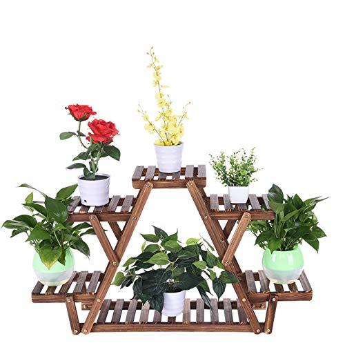 Goldye Triangular Bonsai Flower Stand, Multi-Layer Green Radish Plant Stand,Wooden Flower Rack Pot,Storage Organizer Shelf,Indoor Outdoor Plant Display Holder