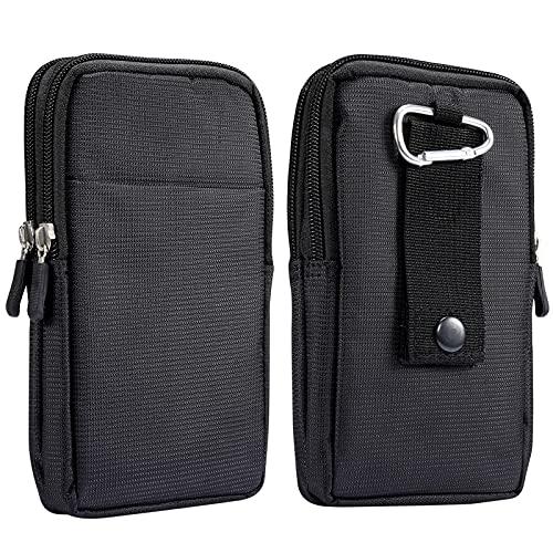 Riñonera vertical para teléfono móvil, para hombre, color negro, universal, con trabilla para cinturón, 6,7 pulgadas, con mosquetón